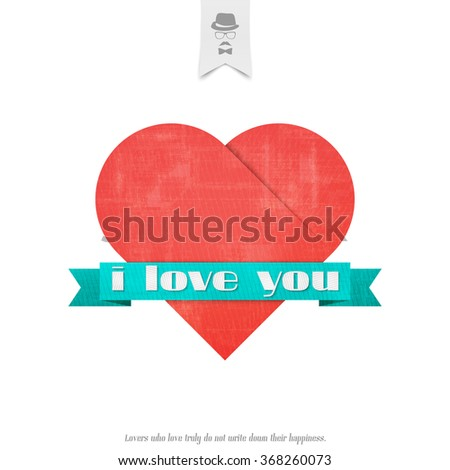 """blue ribbon and """"i love you"""" inscription with red heart symbol isolated on white background. vector Valentines Day banner design. origami style greeting card - stock vector"""