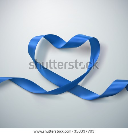 Blue Ribbon Heart. Vector Illustration Of Looping Ribbon. Valentines Day Or Medical Concept - stock vector