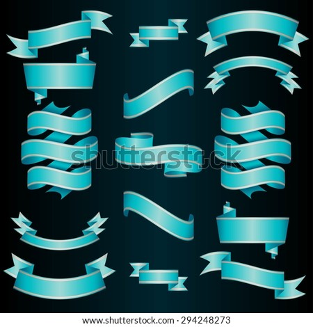 Blue Ribbons Set. Vector Illustration. - stock vector