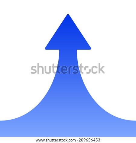 Blue Rising Arrow on White Background. Vector illustration - stock vector
