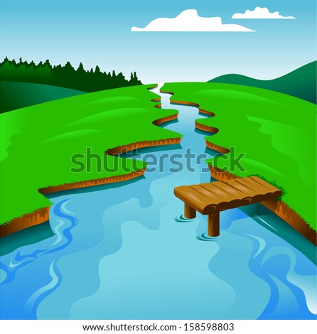 blue river on a background of green landscape, vector and illustration  - stock vector