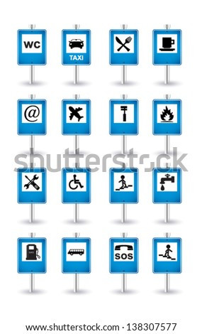 blue road signs - stock vector
