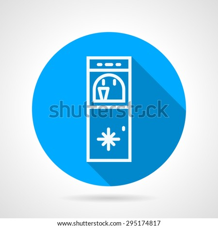 Blue round flat design vector icon with white line water cooler with ice water on gray background with long shadows. - stock vector