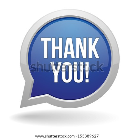 Blue round thank you speech bubble - stock vector