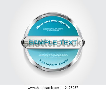 Blue round vector badge with metallic and glass decoration - stock vector