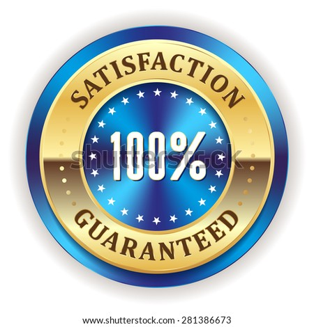 Blue satisfaction badge with gold border on white background - stock vector