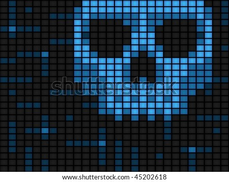 Blue screen of death background made of computer monitors - horizontal - stock vector