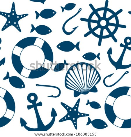 blue sea icons seamless pattern on white - stock vector