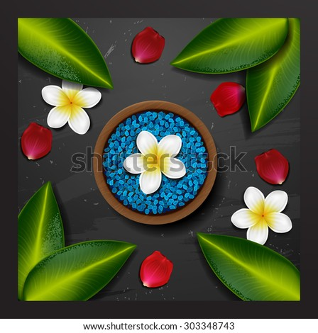 Blue sea salt. spa background. spa background with tropical flowers and stone spa candle. Summer tropical green leaves - stock vector