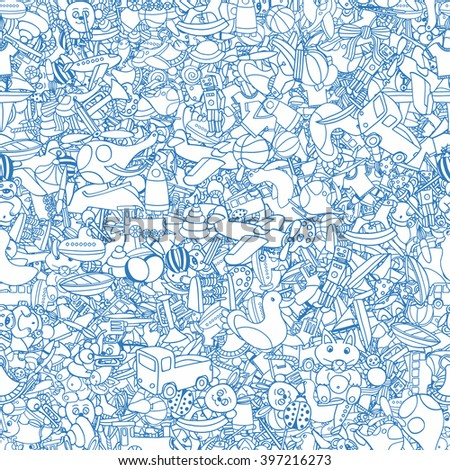 Blue Seamlesbackground of Funny baby toys set. Vector doodle collection of hand drawn icons for baby shower or scrapbook - stock vector