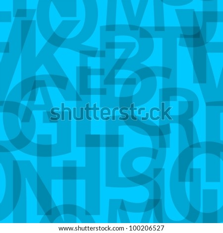 Blue seamless letters pattern. - stock vector