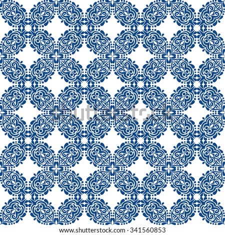 blue seamless pattern on white background.vector illustration - stock vector