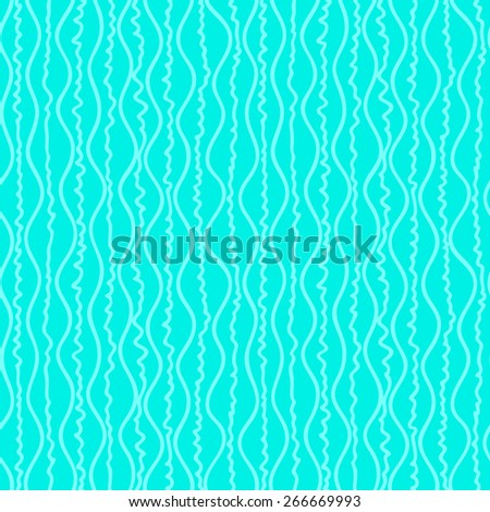 blue seamless pattern with fancy white waves - stock vector