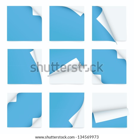 blue set of note paper with curled corner - stock vector
