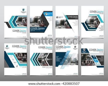 Blue set technology annual report brochure flyer design template vector, Leaflet cover presentation abstract geometric background, layout in A4 size - stock vector