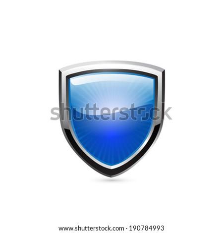 Blue shield. Vector - stock vector