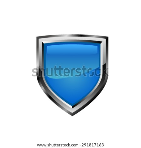 Blue shield. Vector - stock vector
