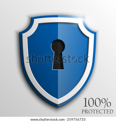 Blue shield with keyhole isolated on white background. Security vector sign - stock vector