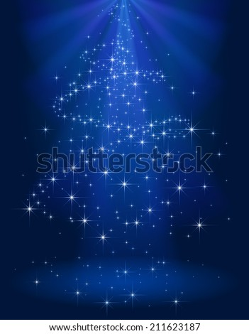 Blue shining background with stars in the form of Christmas tree, illustration. - stock vector