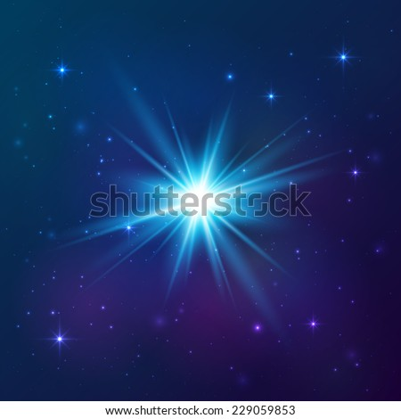 Blue shining vector star - stock vector