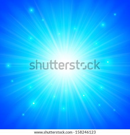 Blue shining vector sun background - stock vector