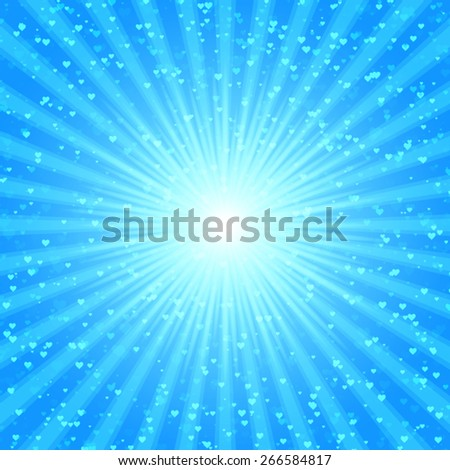 Blue shiny backgrounds for design. Abstract retro vintage background of the shining sun rays with hearts. Sun. Love. Sunburst, light ray, sunset vector illustration. Romantic texture. Spring. - stock vector