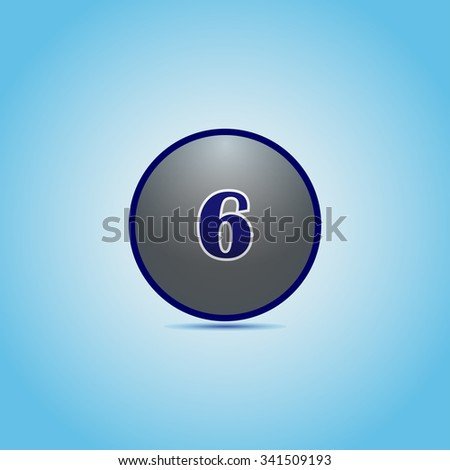 Blue shiny ball with the number on the background with shadow. - stock vector