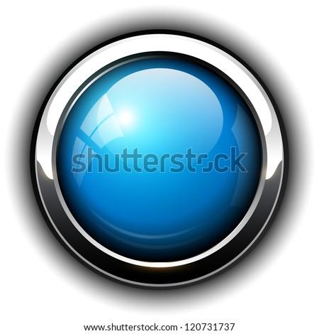 Blue shiny button, vector design. - stock vector
