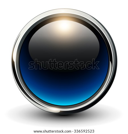Blue shiny button with metallic elements, 3D glossy vector design - stock vector