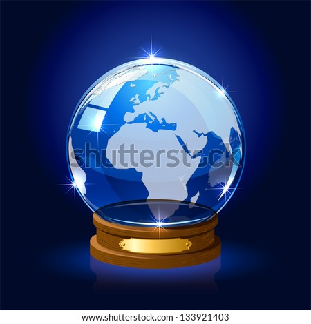 Blue shiny Globe with map on dark background, illustration - stock vector
