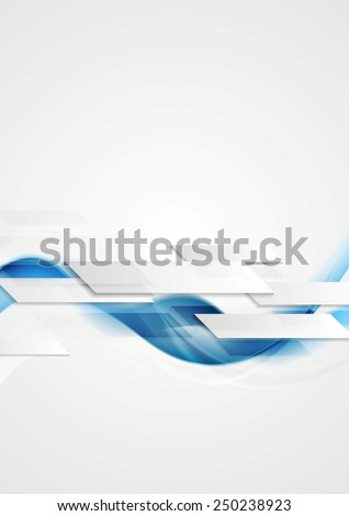 Blue shiny hi-tech motion waves background. Vector design - stock vector