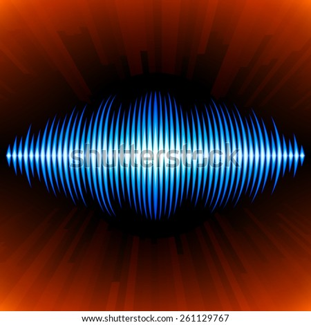Blue shiny sound waveform with shiny peaks and orange background - stock vector