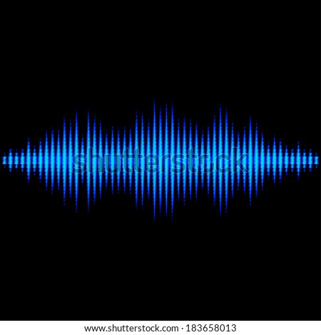 Blue shiny sound waveform with triangle light filter - stock vector