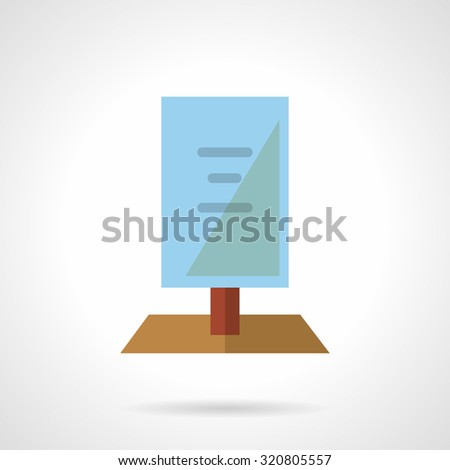 Blue signboard with red rack. Simple flat color vector icon. Outdoors advertising. Elements of web design for business and website. - stock vector