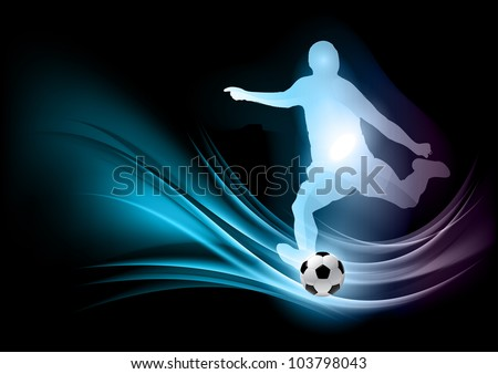 blue silhouette of football player - stock vector