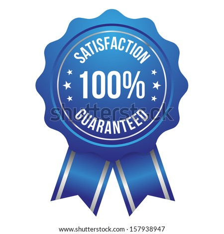 Blue silver hundred percent satisfaction badge with ribbon - stock vector