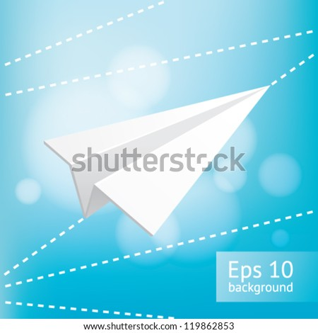 Blue sky and paper plane, EPS10 file with transparent objects - stock vector