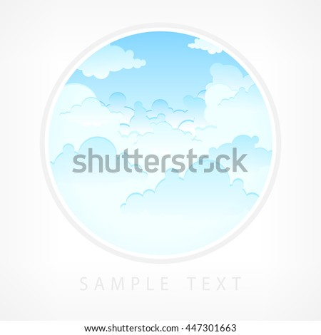Blue sky in round lens view vector illustration - stock vector