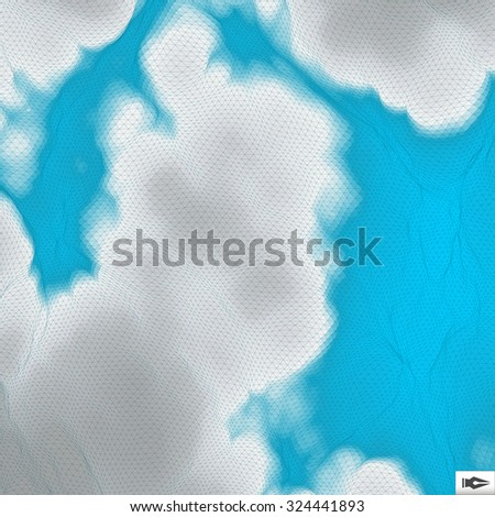 Blue Sky With Clouds. Mosaic. Abstract Mesh Background. 3d Vector Illustration. - stock vector
