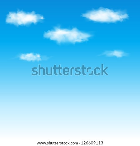 Blue sky with clouds. Vector illustration. - stock vector