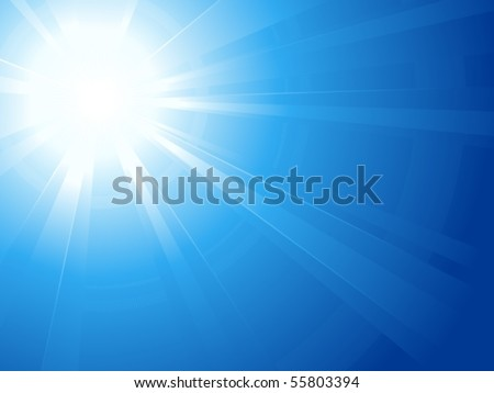Blue sky with glaring sun. Abstract background, asymmetric light burst with the center in the upper left third. Use of linear and radial gradients. Artwork grouped and layered. Global colors. - stock vector