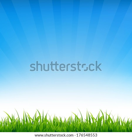 Blue Sky With Grass, With Gradient Mesh, Vector Illustration - stock vector