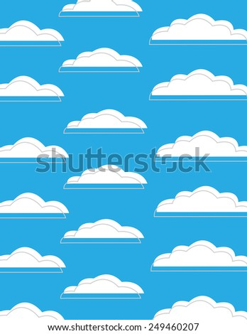 Blue sky with white clouds background pattern - stock vector