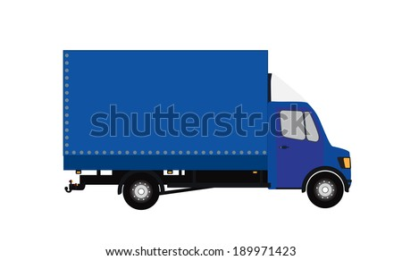 Blue Small truck. Silhouette. Vector Illustration. EPS10 - stock vector