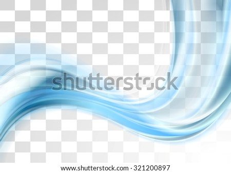Blue smooth blurred transparent waves design. Vector background - stock vector