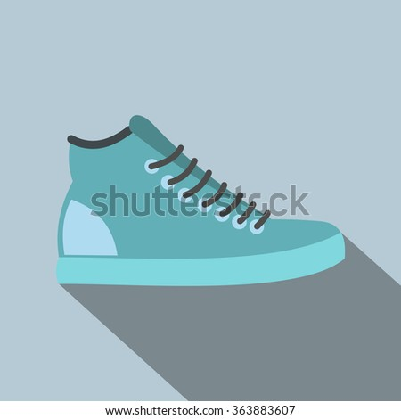 Blue sneakers flat icon on a light blue background - stock vector