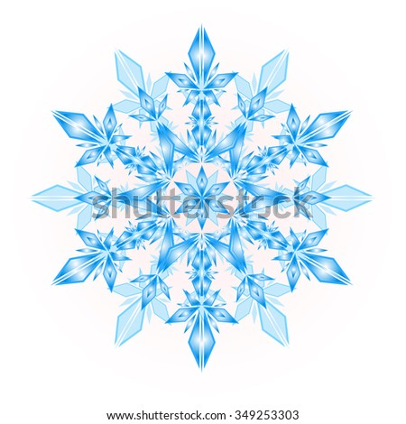 blue snowflakes on a white background, vector - stock vector