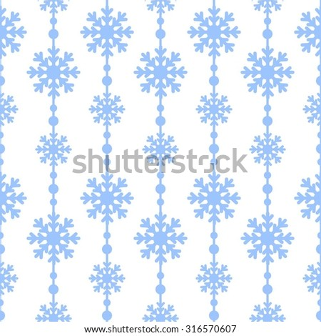 Blue snowflakes on a white background vector seamless pattern. Christmas background - stock vector