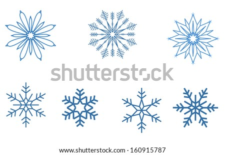 blue snowflakes part 2 - stock vector
