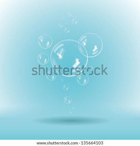 Blue soap bubbles on white background - stock vector